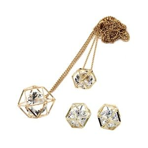 Fashion double gold crystal necklace earrings set